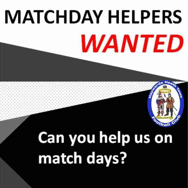 Match Day Helpers Wanted