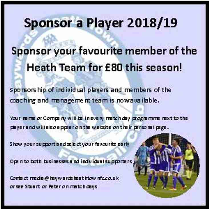 Sponsor A Haywards Heath Player For 2018/19