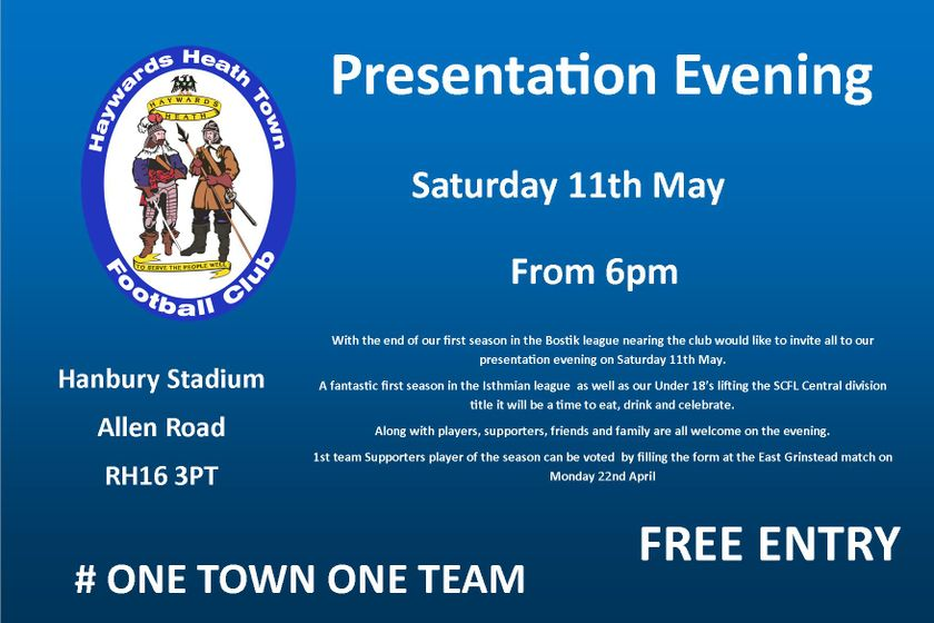 Presentation Evening  - Saturday 11th May
