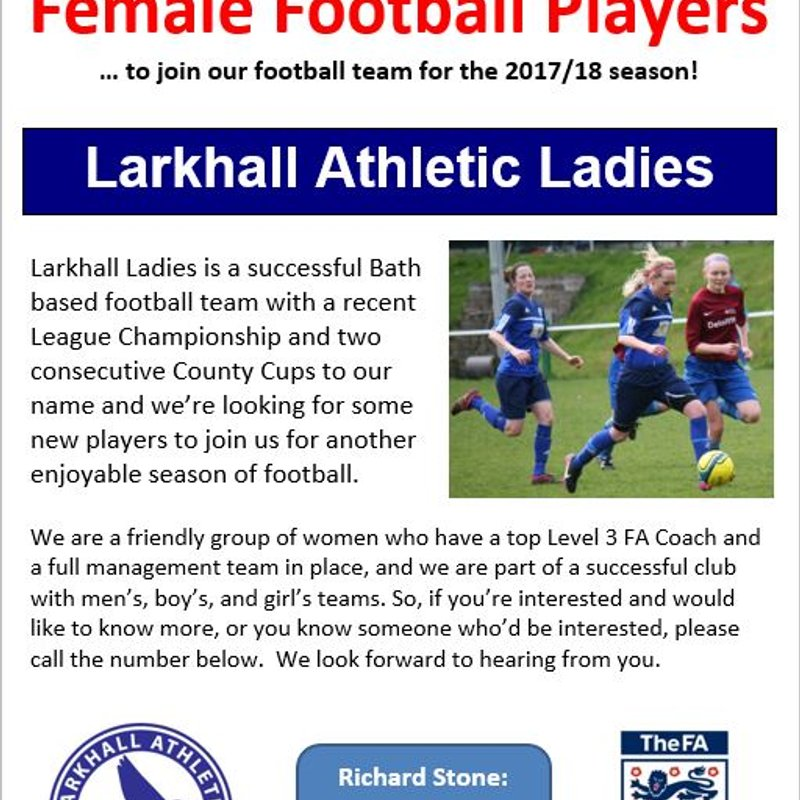 Larkhall Ladies looking for new players