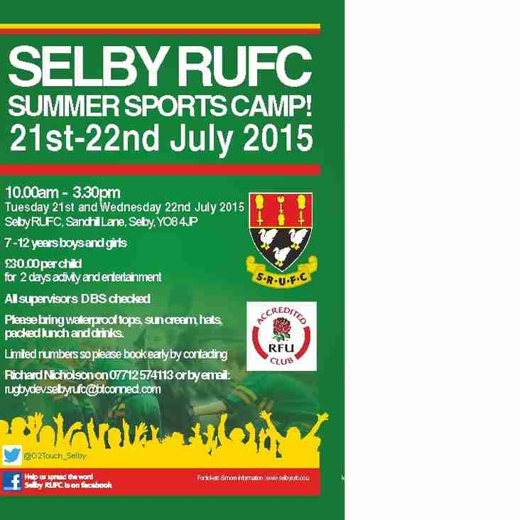 SELBY RUFC SUMMER SPORTS CAMP 2015