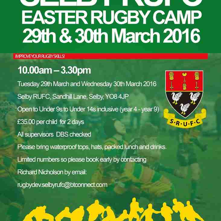 SELBY RUFC EASTER RUGBY CAMP 2016