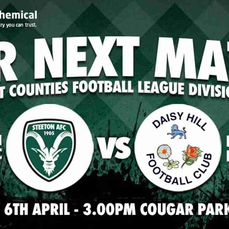 NEXT UP: Steeton host Daisy Hill on Saturday at Cougar Park- 3pm Kick off.