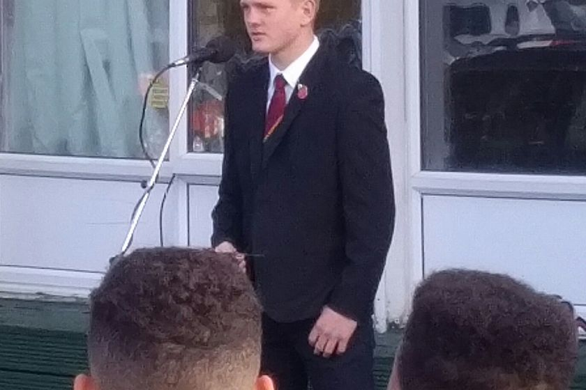 U15's Captain Matt O Connor leads M&J Remembrance Sunday Silence