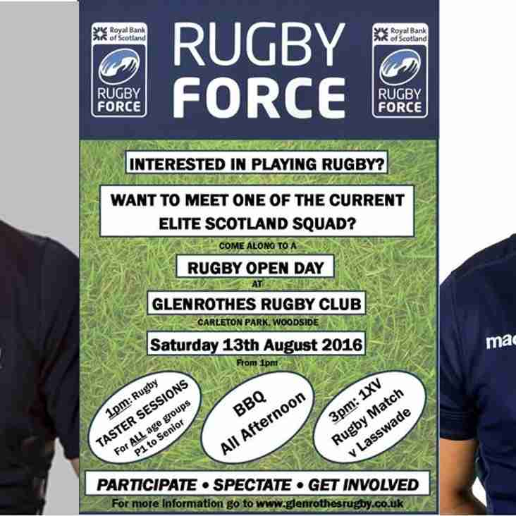 TWO Scotland Players to Visit GRFC for RBS RugbyForce this Saturday