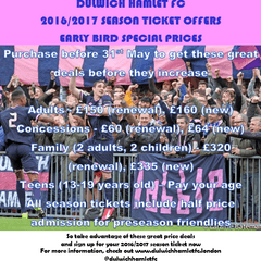 Plan ahead for Season 2016 / 2017 - Season Ticket Prices reduced. Online payment option now available.