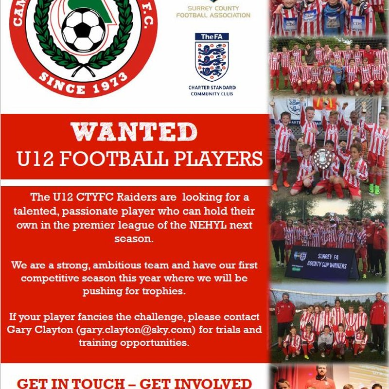 U12 Raiders Looking for Players