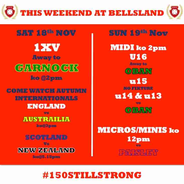 Whats on at Kilmarnock RFC this Weekend