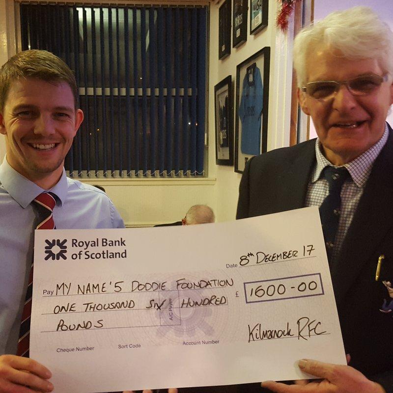 Kilmarnock RFC raises £1600 for My Name'5 Doddie Foundation @MNDoddie5 @DoddieWeir5