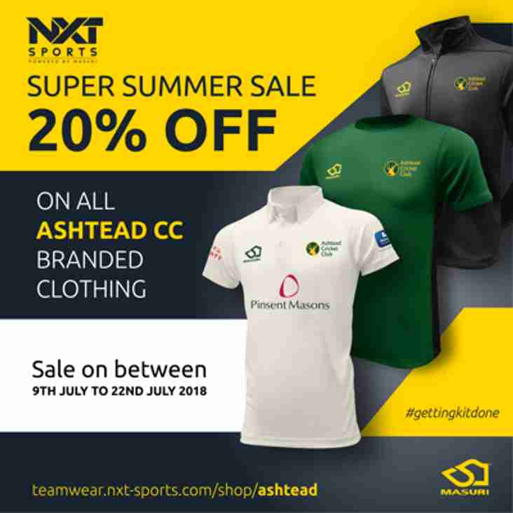 20% Summer Sale from 9th July at our Club Clothing shop.