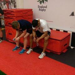 Matt Garrett & Brooksy pretending to be England Sevens players