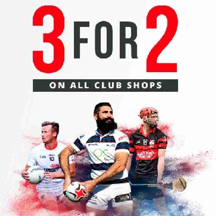 O'Neills 3 for 2 on club shop