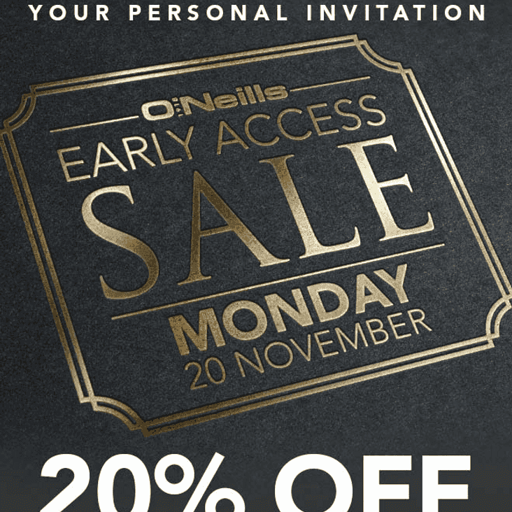O'NEILLS CLUB SHOP OFFER 20% off