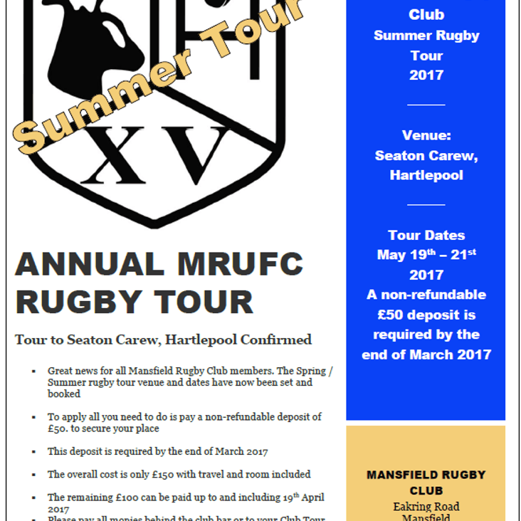 Mansfield Rugby Club Tour 2017<