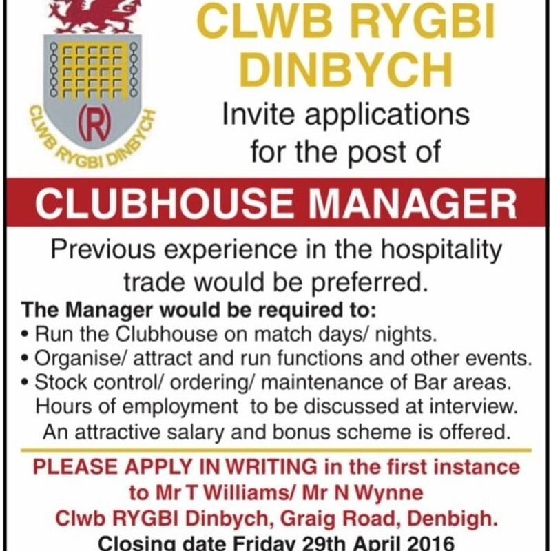 VACANCY: Club Steward