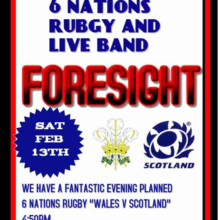 6 NATIONS RUGBY AND LIVE BAND