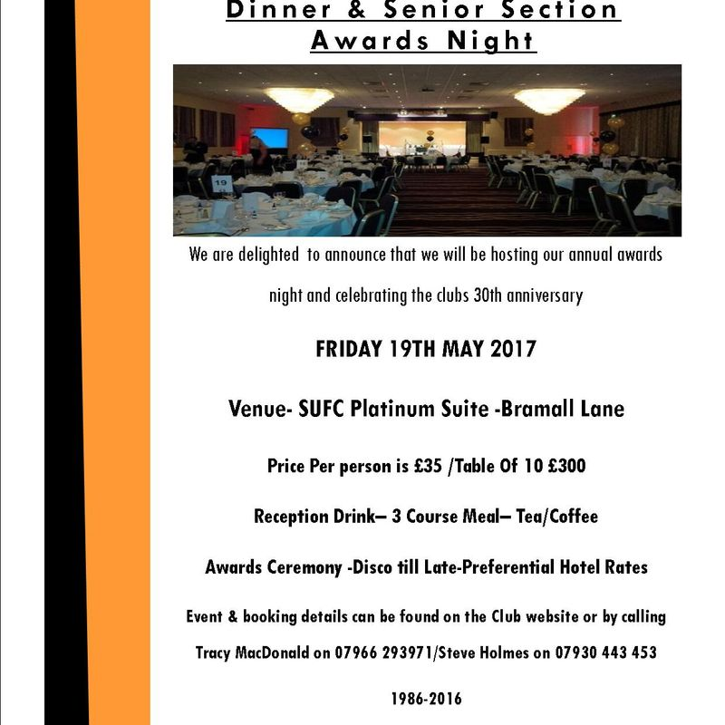 Ambers Announce 30 Year Anniversary Dinner & Awards Night