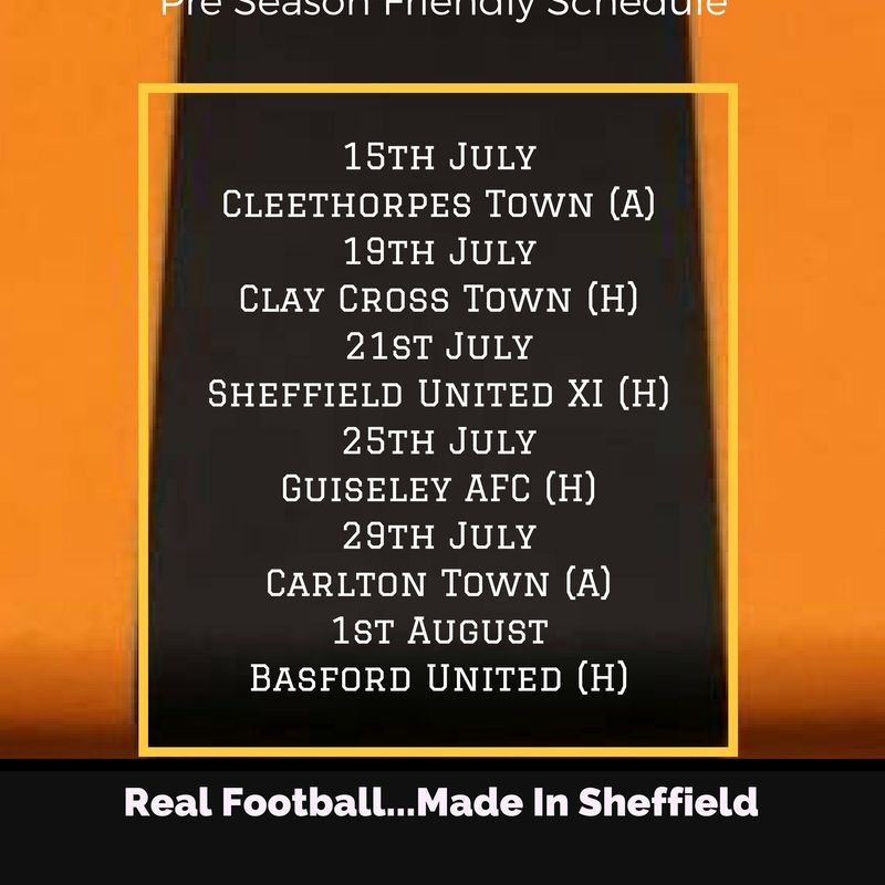 Pre Season Schedule Announced....