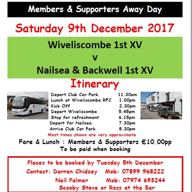 Trip to Wiveliscombe Saturday 9th December