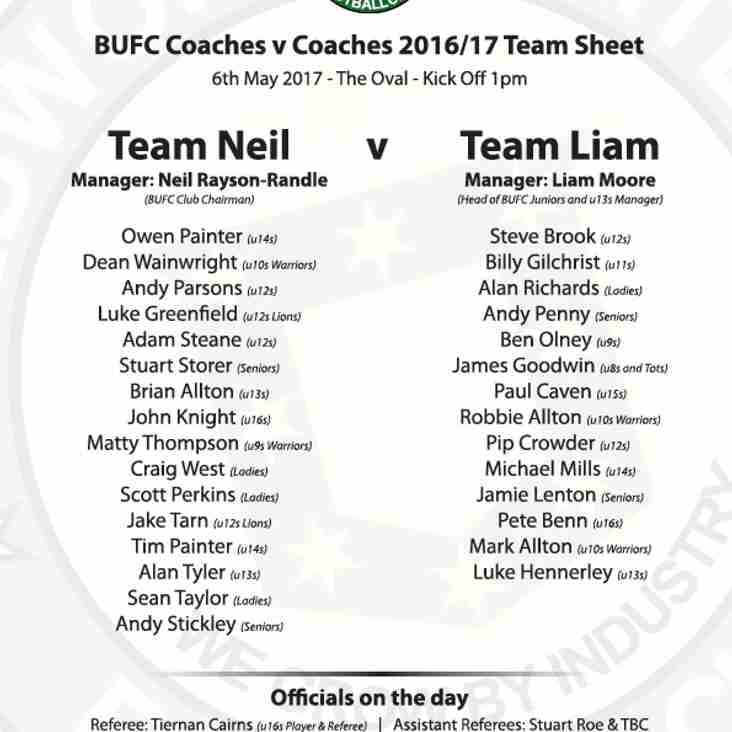COACHES v COACHES game 6th May Kick off 1pm