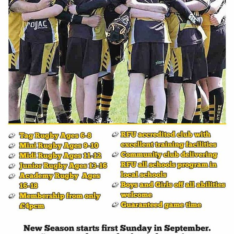 Mini & Junior Rugby returns to Northwich RUFC on Sunday 3rd September