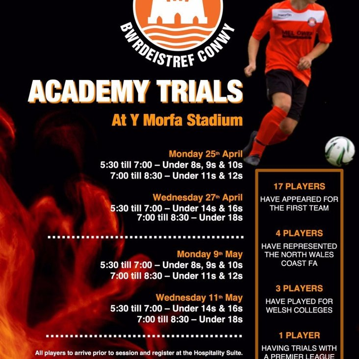 2016/17 ACADEMY TRIAL DATES ANNOUNCED<