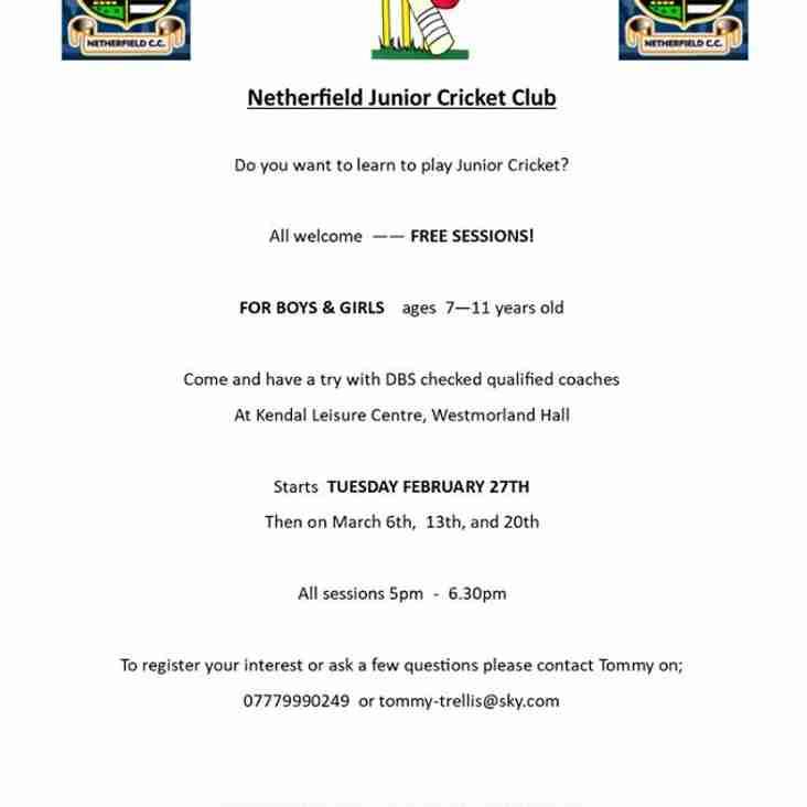 Netherfield Junior CC Free Training Sessions
