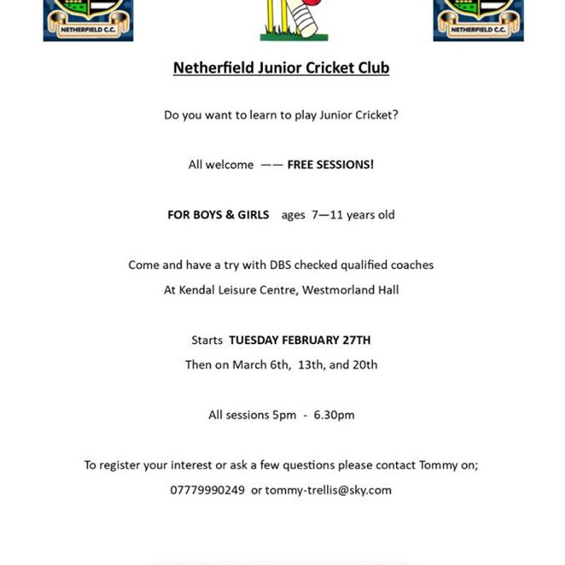 Netherfield Junior CC Free Training Sessions