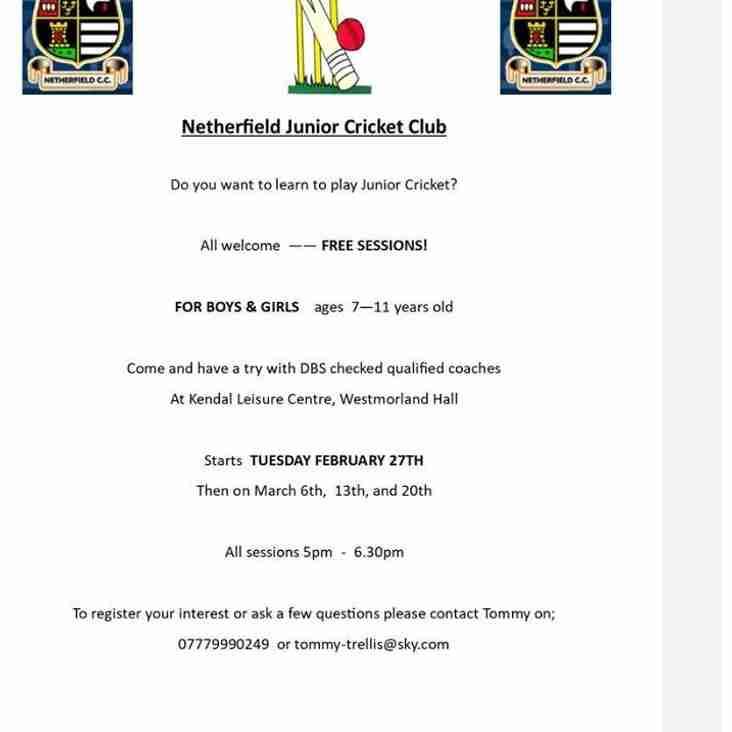 Netherfield Junior Training Sessions