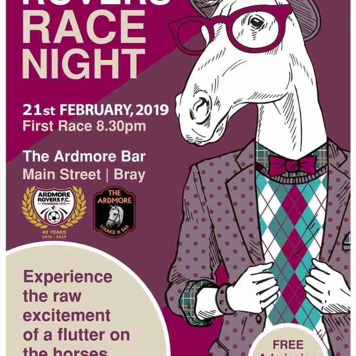 Ardmore Rovers Seniors Race Night - 21st February