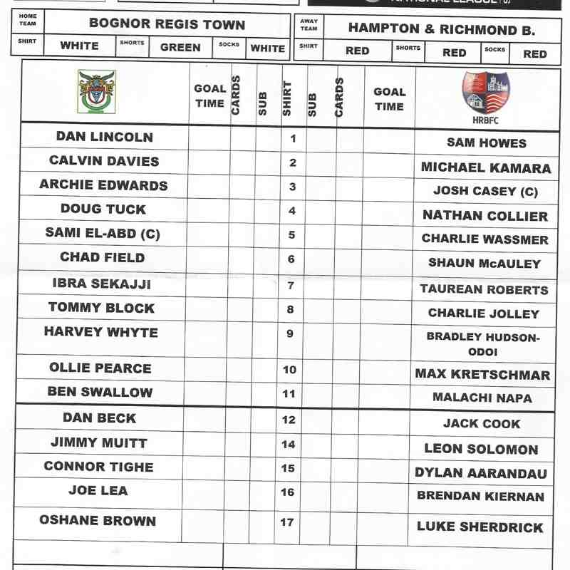 Bognor Regis Town Vs Hampton & Richmond Borough.11/11/2017