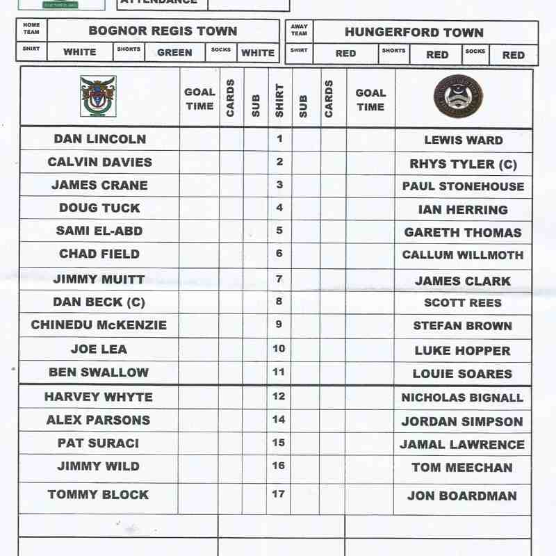Bognor Regis Town V Hungerford Town 05th September 2017
