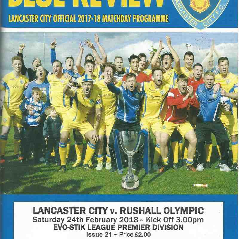 Lancaster City Vs Rushall Olympic.24/02/2018