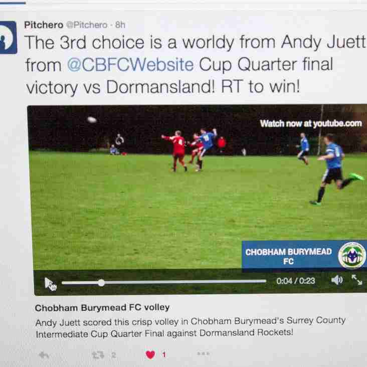 Andy Juett's Fantastic Volley on Pitchero's Twitter Top of the Weekend List