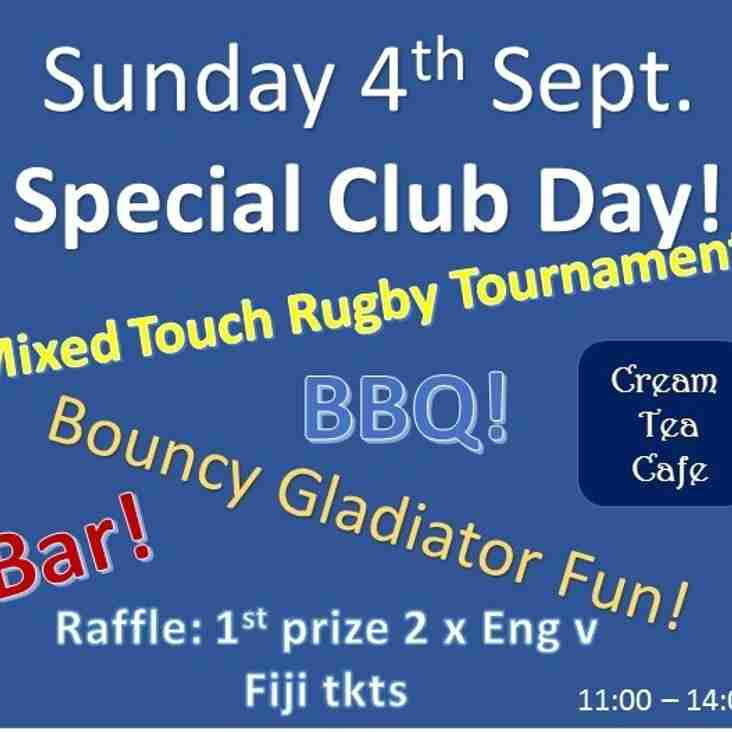 Everyone welcome to our Special Club Day on Sunday 4th