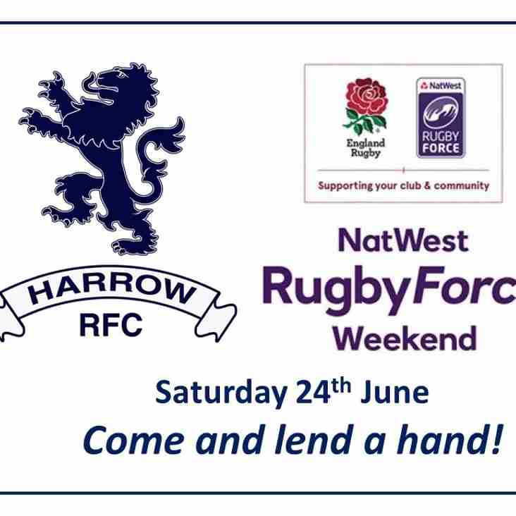 Come and lend a hand at the Harrow Rugby Force weekend!