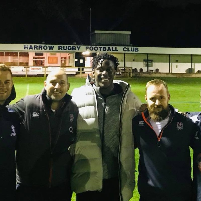 Maro Itoje helps a training session at the Club
