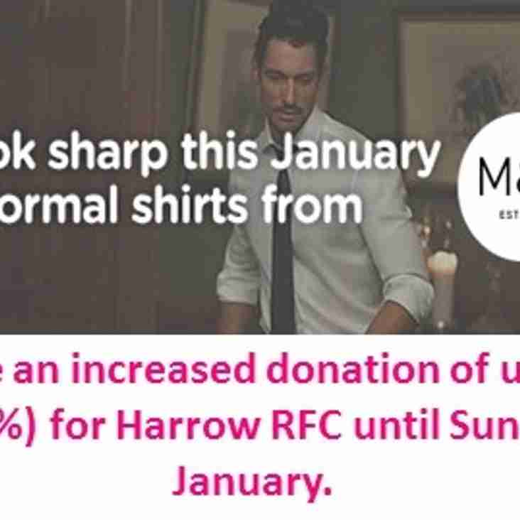 M&S mens shirts offer plus free donation to Harrow RFC