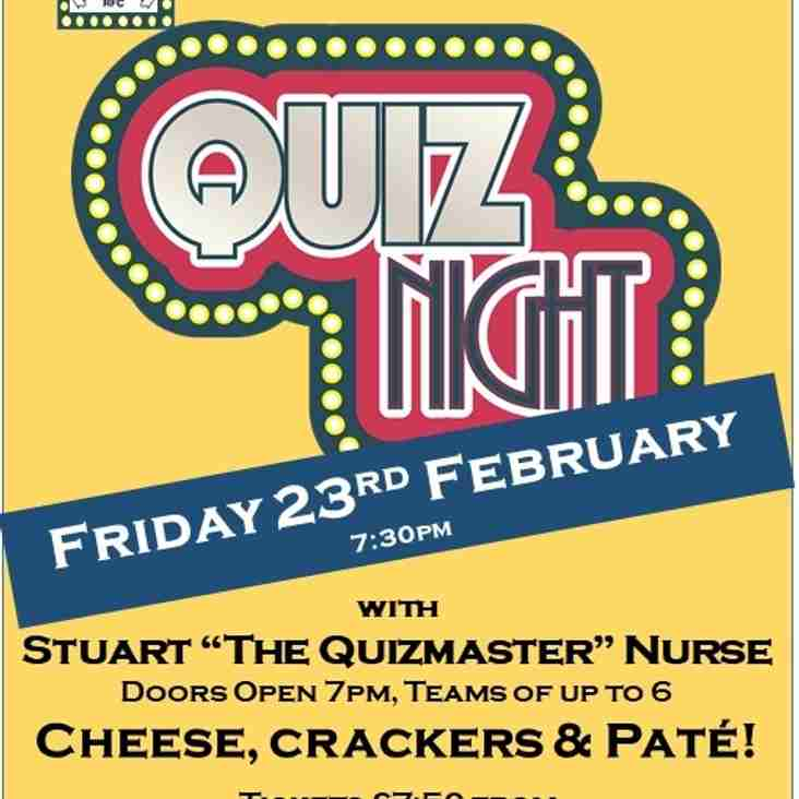 The Great Harrow RFC Quiz Night Friday is on 23rd February 2018