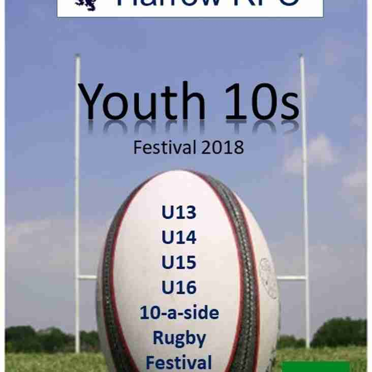 Harrow Youth 10s Festival back on Sunday 24th