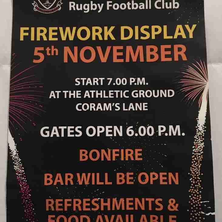 Fireworks at WRFC on Saturday 5th Nov 2016