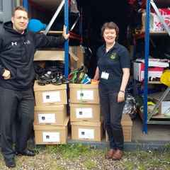 Aberdeen Wanderers Donate kit to The School of Hard Knocks Rugby Charity