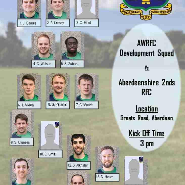 Aberdeen Wanderers Development Squad v  Aberdeenshire 2nds - Team Announcement