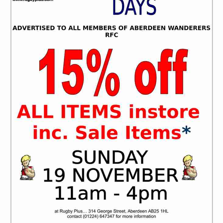 Rugby Plus Discount Day for Wanderers