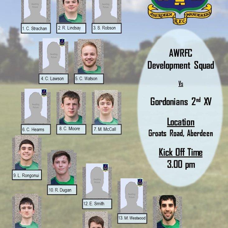 Aberdeen Wanderers Development Squad v  Gordonians 2nd XV  - Team Announcement<