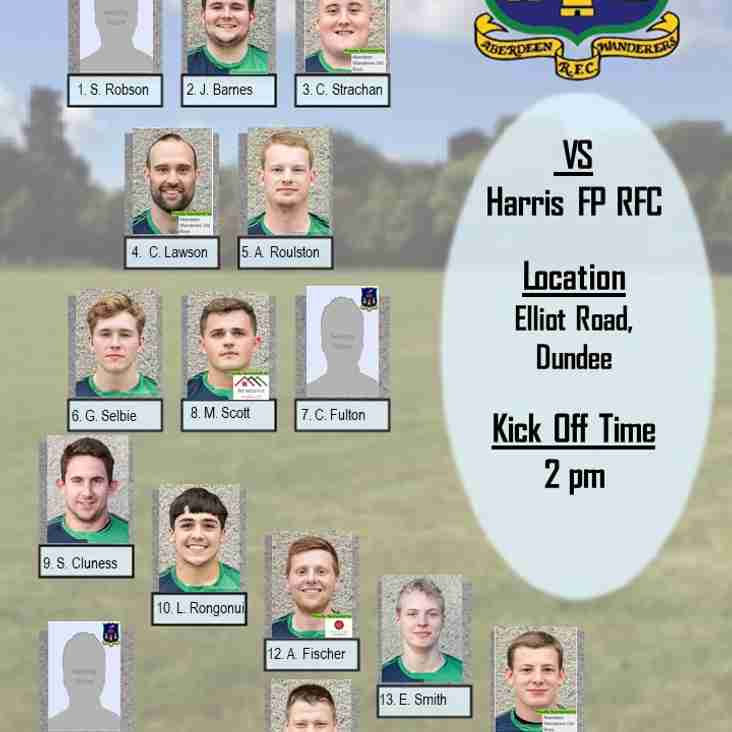 Aberdeen Wanderers RFC 1st XV v Harris FP RFC - Team Announcement
