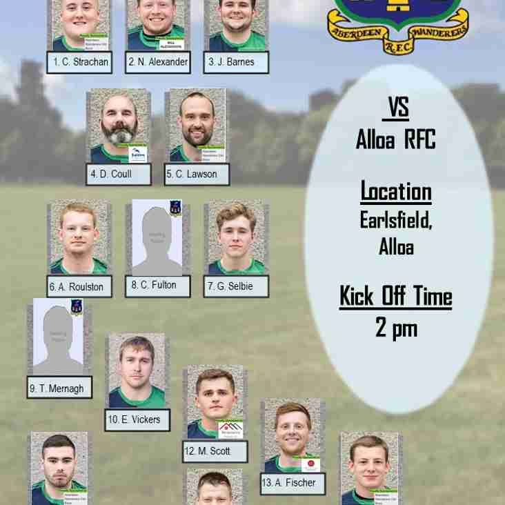 Aberdeen Wanderers RFC 1st XV v Alloa RFC - Team Announcement
