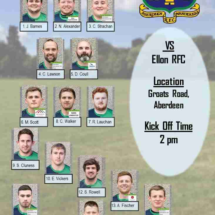 Aberdeen Wanderers RFC 1st XV v Ellon RFC - Team Announcement
