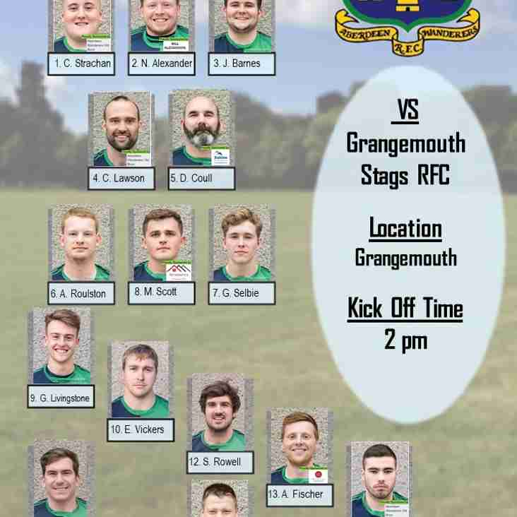 Aberdeen Wanderers RFC 1st XV v Grangemouth Stags RFC - Team Announcement
