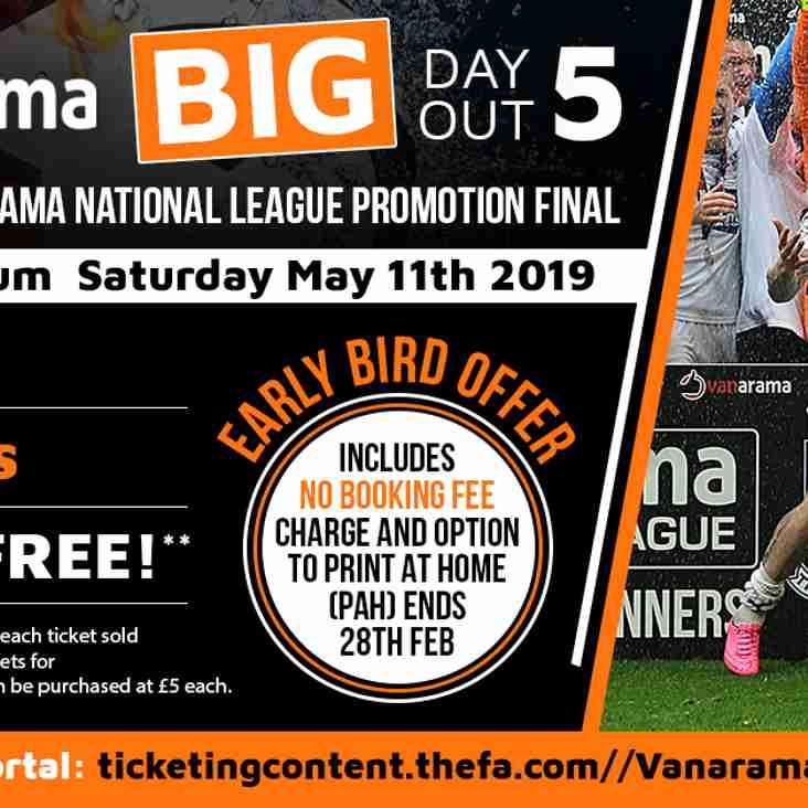 Vanarama National League Promotion Final: Early Bird Offer